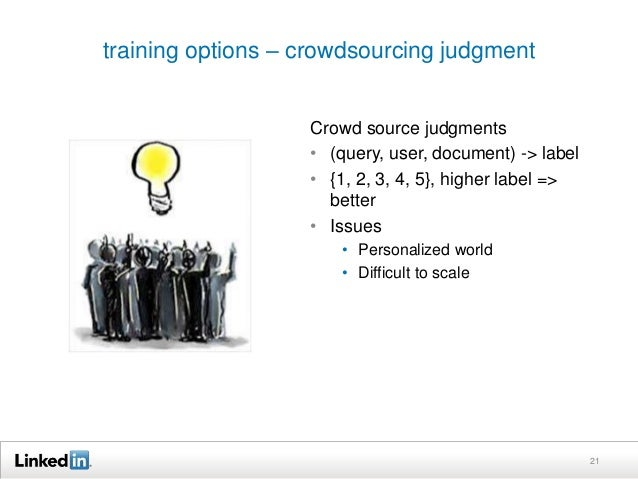 training options – crowdsourcing judgment  21  Crowd source judgments  • (query, user, document) -> label  • {1, 2, 3, 4, ...