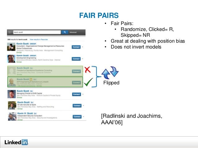 FAIR PAIRS  • Fair Pairs:  • Randomize, Clicked= R,  • Great at dealing with position bias  • Does not invert models  Flip...