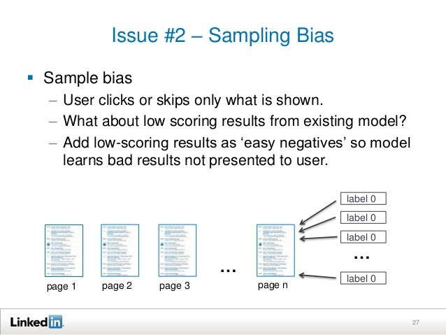 Issue #2 – Sampling Bias  27   Sample bias  – User clicks or skips only what is shown.  – What about low scoring results ...