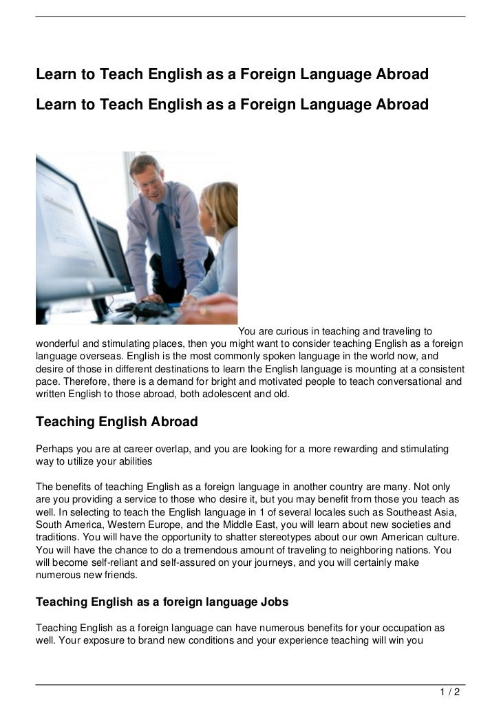 Learn to Teach English as a Foreign Language AbroadLearn to Teach English as a Foreign Language Abroad                    ...