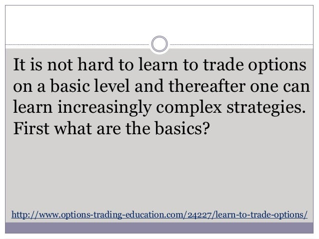 Learn to trade options pdf