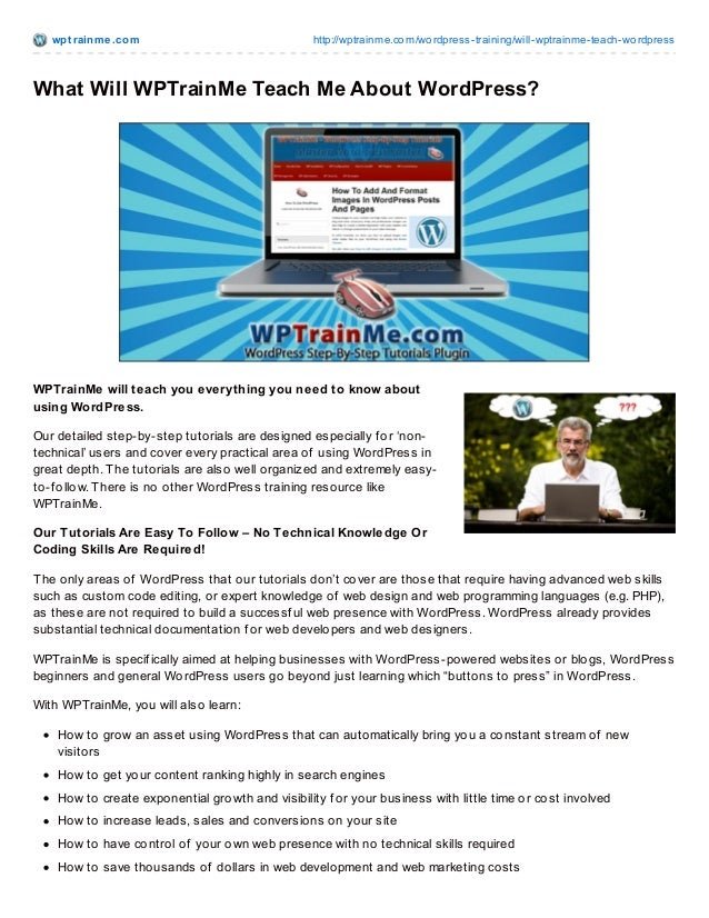 wpt rainme.com http://wptrainme.com/wordpress-training/will-wptrainme-teach-wordpress What Will WPTrainMe Teach Me About W...
