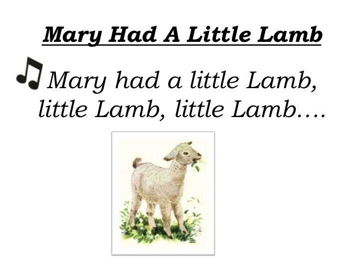 Mary Had A Little Lamb Mary had a little Lamb,little Lamb, little Lamb….