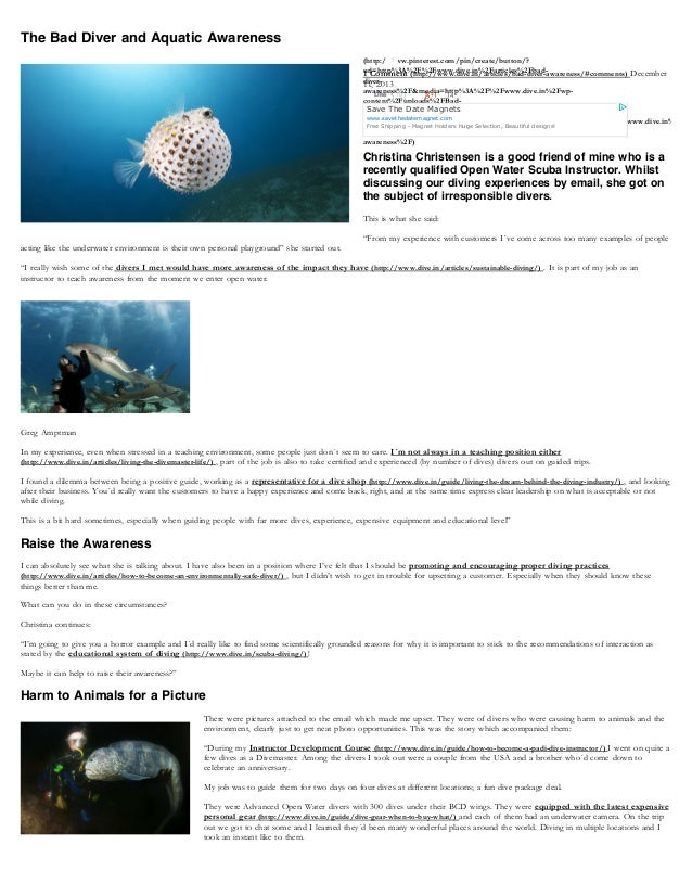 The Bad Diver and Aquatic Awareness  1 (http://www.pinterest.com/pin/create/button/? url=http%3A%2F%2Fwww.dive.in%2Farticl...