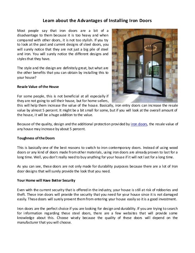 Learn About The Advantages Of Installing Iron Doors Most People Say That  Iron Doors Are A