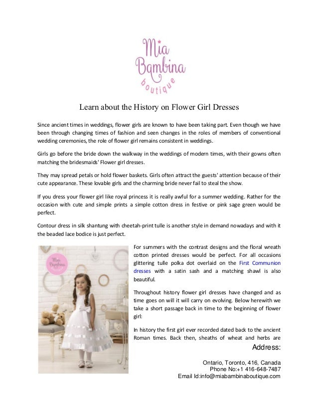 fca01fa357fc Learn about the history on flower girl dresses