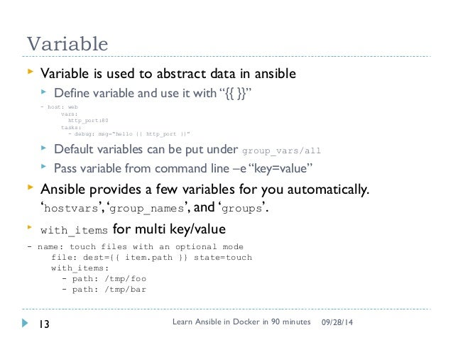Learn basic ansible using docker