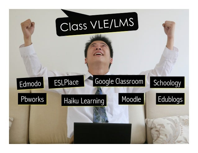 Edmodo Google Classroom Moodle EdublogsHaiku Learning Schoology Pbworks Class VLE/LMS ESLPlace