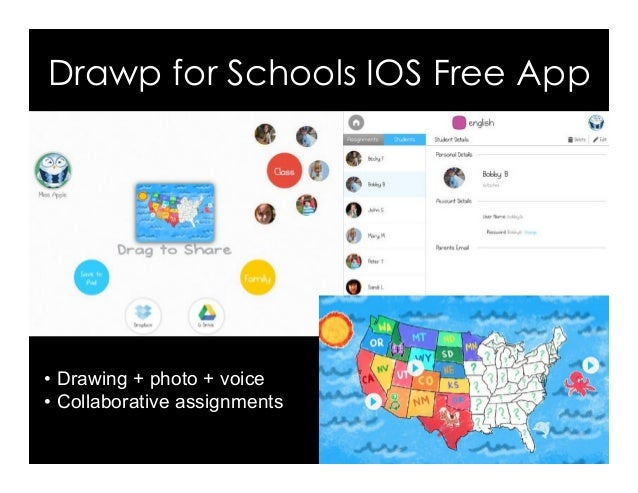 Drawp for Schools IOS Free App •Drawing + photo + voice • Collaborative assignments