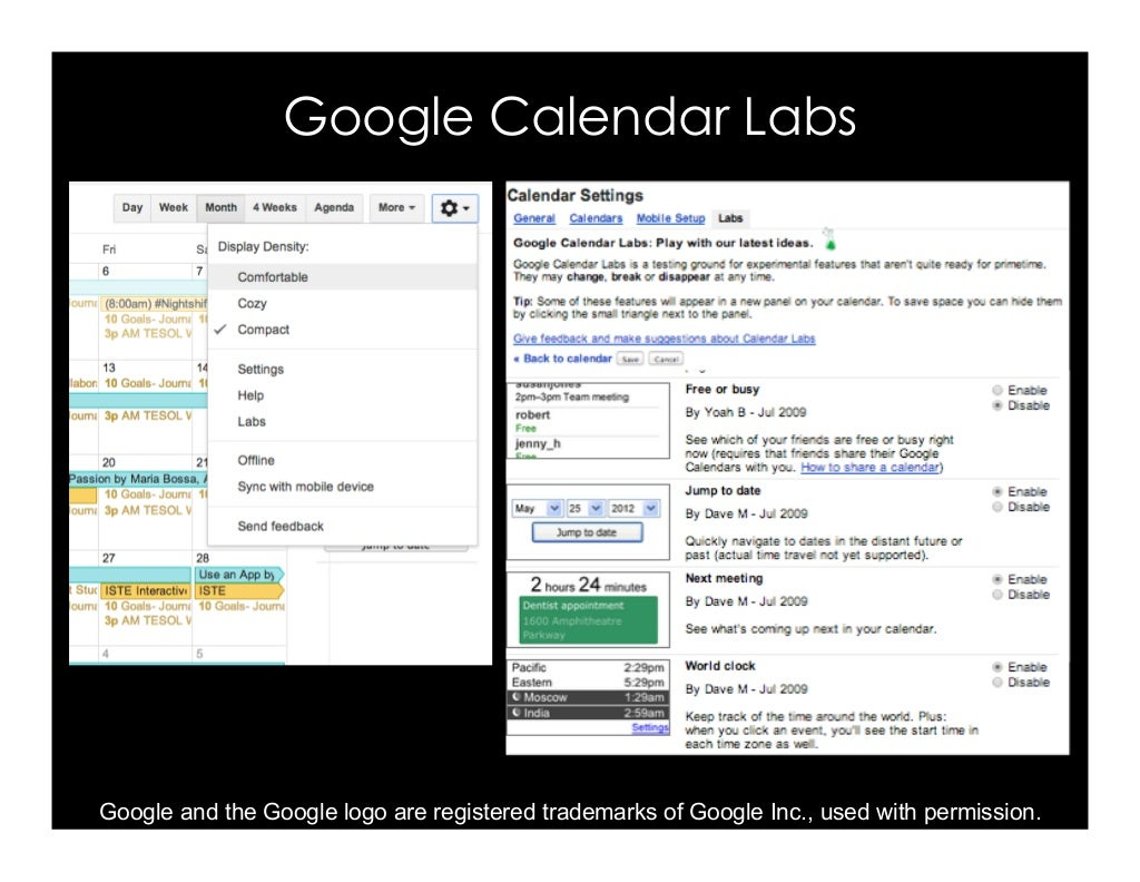 Calendar Labs : Google calendar labs and