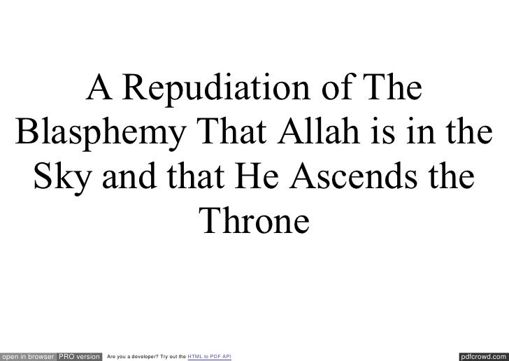 A Repudiation of The   Blasphemy That Allah is in the    Sky and that He Ascends the              Throneopen in browser PR...