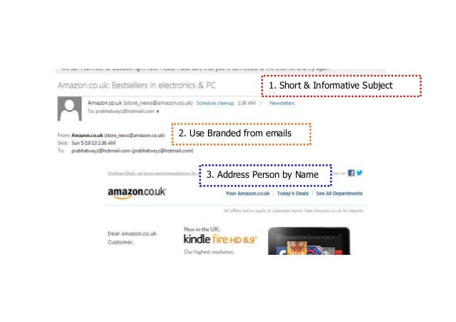 1. Short & Informative SubjectLines2. Use Branded from emails3. Address Person by Name