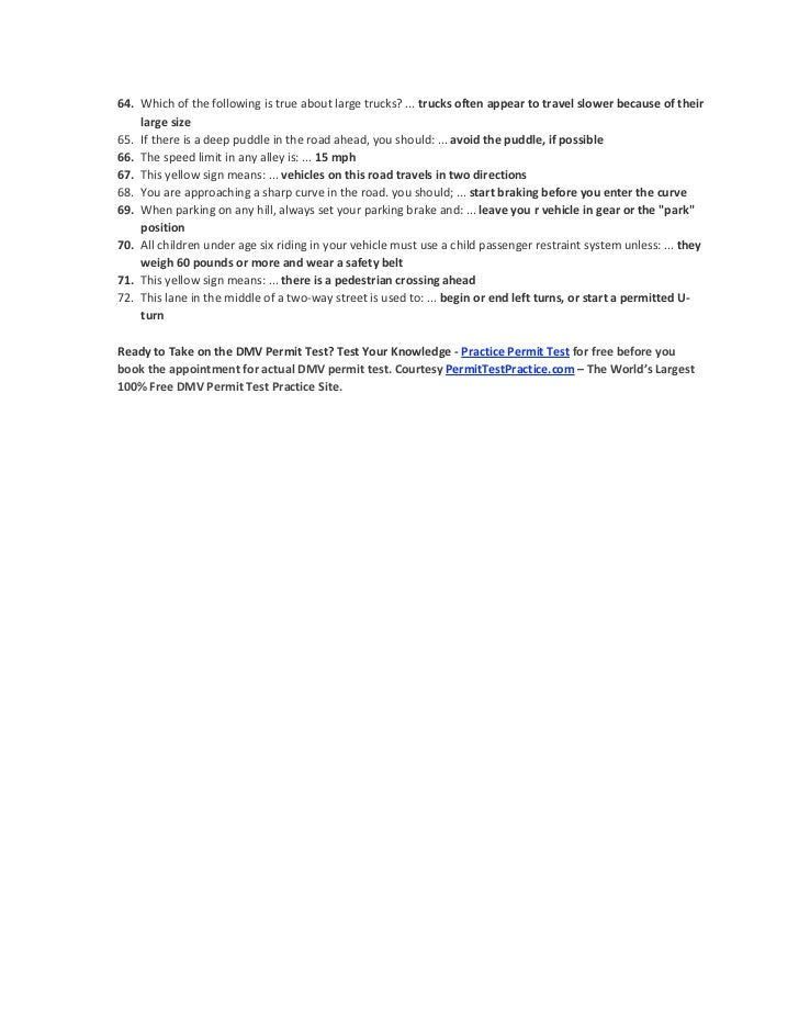 dmv permit test cheat sheet