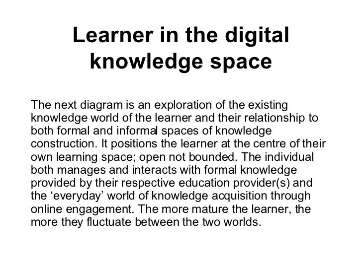Learner in the digital knowledge space <ul><li>The next diagram is an exploration of the existing knowledge world of the l...