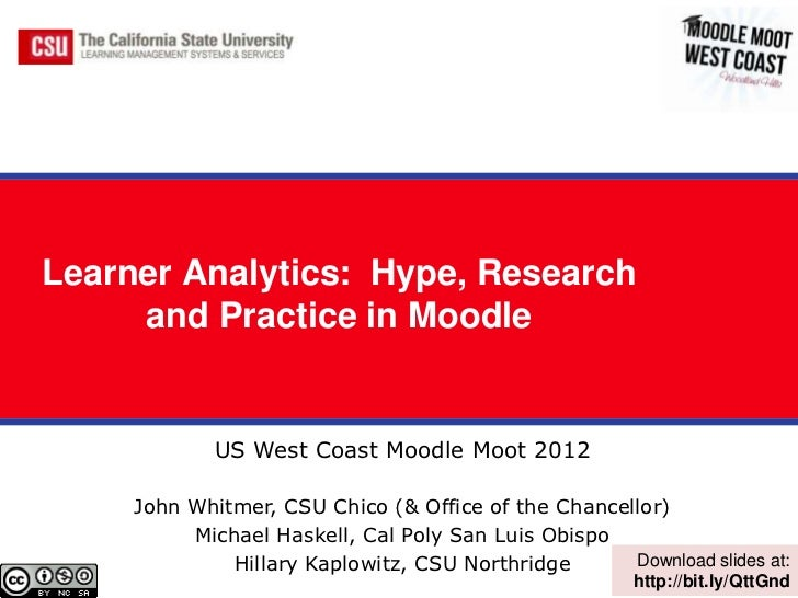 Learner Analytics: Hype, Research     and Practice in Moodle             US West Coast Moodle Moot 2012     John Whitmer, ...