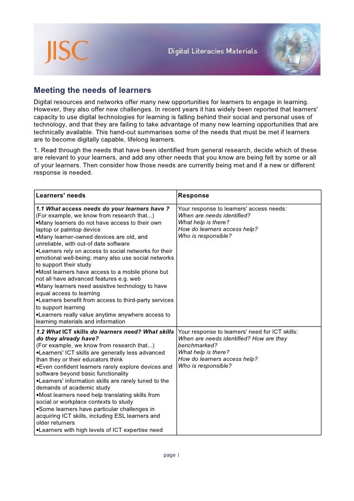 Meeting the needs of learners Digital resources and networks offer many new opportunities for learners to engage in learni...