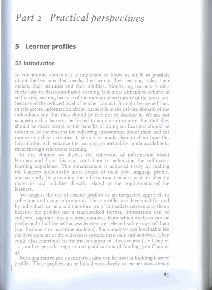 Part             Practica1 perspectives               2       5     Learner profiles      5.1 lntroduction      In educati...