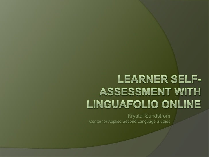 Krystal Sundstrom Center for Applied Second Language Studies