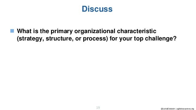 @JuttaEckstein | agilebossanova.org19 Discuss ◼ What is the primary organizational characteristic (strategy, structure, or...