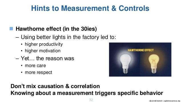 @JuttaEckstein | agilebossanova.org32 Hints to Measurement & Controls ◼ Hawthorne effect (in the 30ies) – Using better lig...