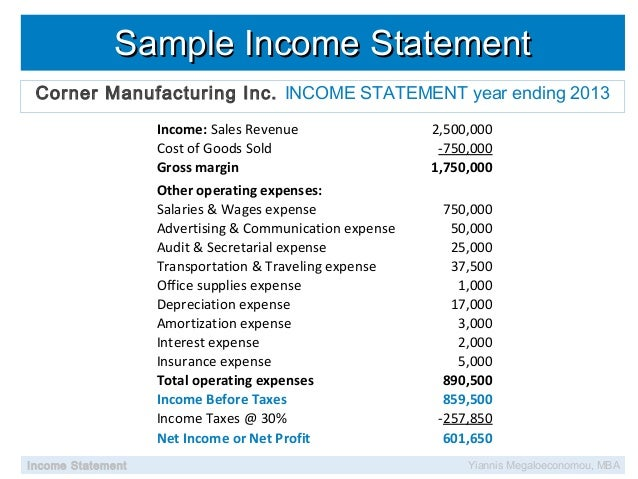 Income Statement Sample Manufacturing Image Gallery  Hcpr