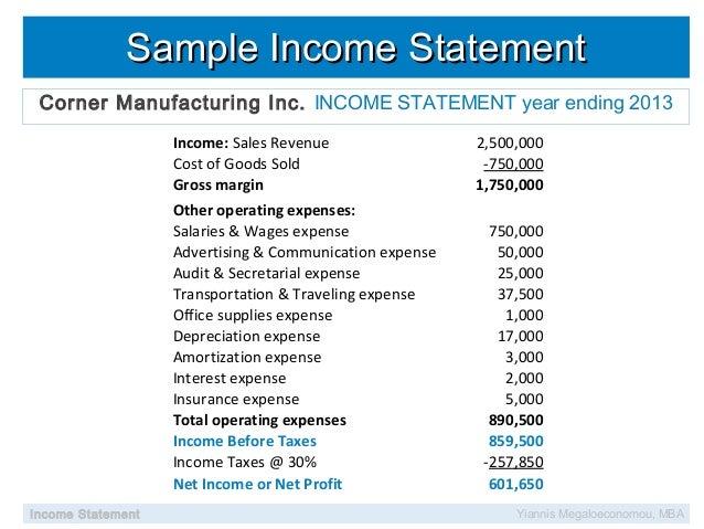Sample Income StatementSample Income Statement ...