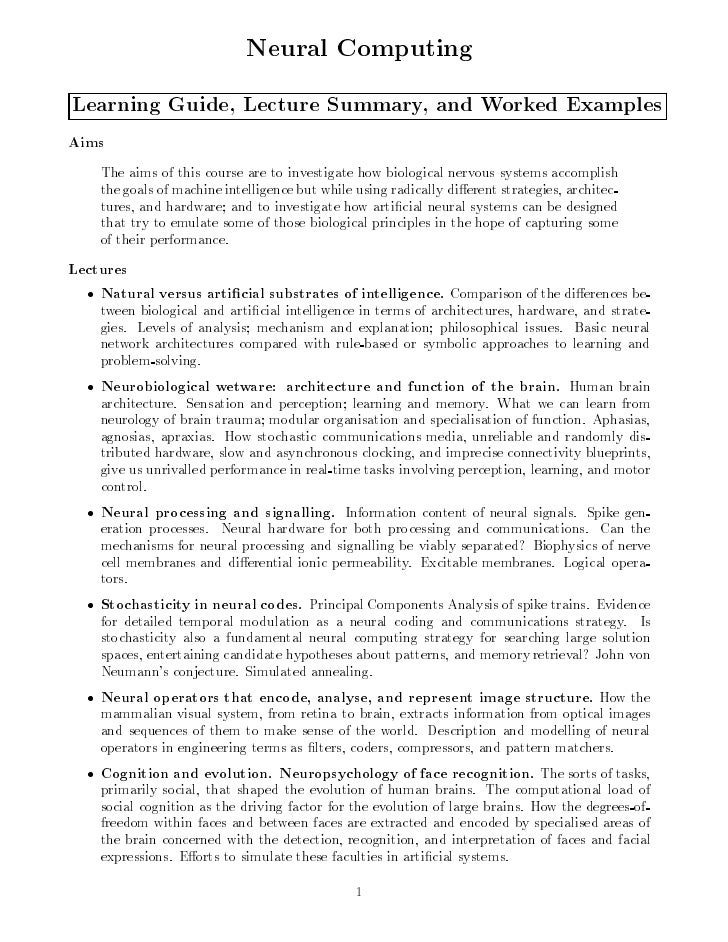 Neural Computing Learning Guide, Lecture Summary, and Worked Examples Aims     The aims of this course are to investigate ...