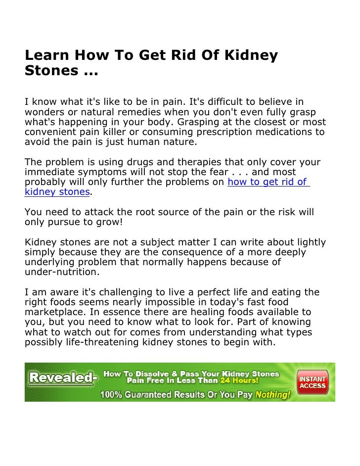 Can You Get Rid Of Kidney Stones Naturally