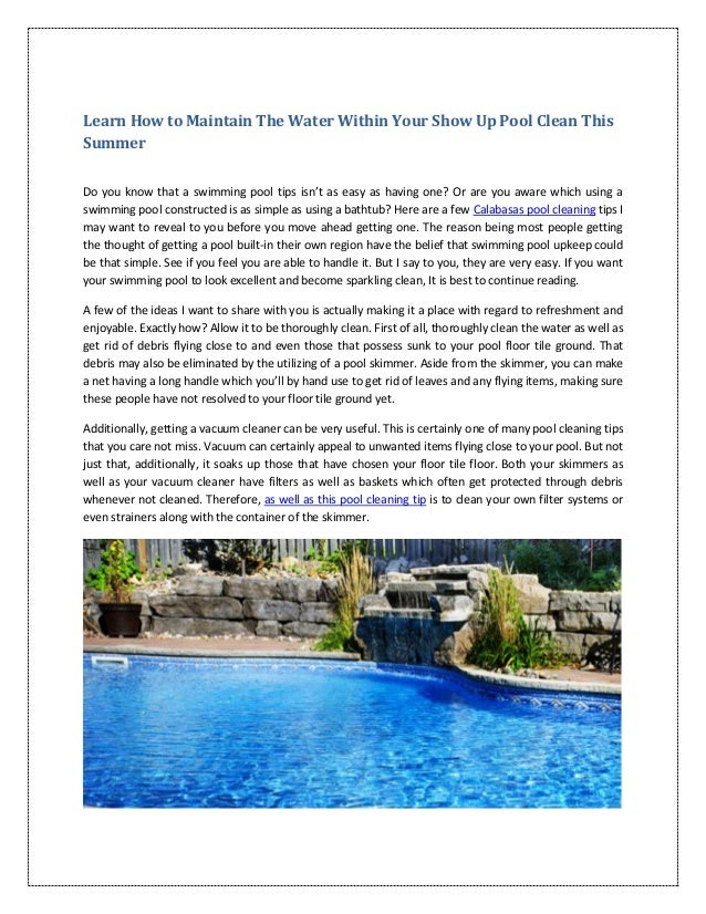 Learn How To Maintain The Water Within Your Show Up Pool Clean This S