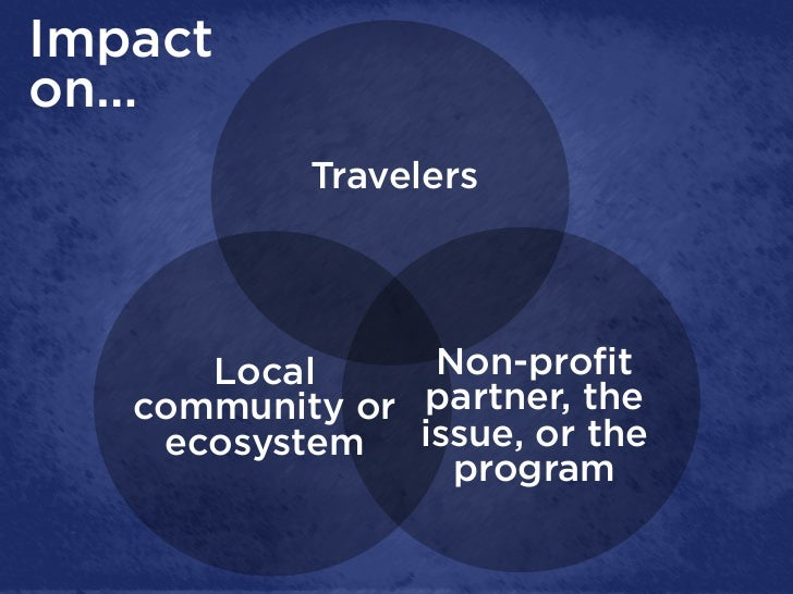 Impacton…           Travelers      Local      Non-profit   community or partner, the    ecosystem   issue, or the         ...