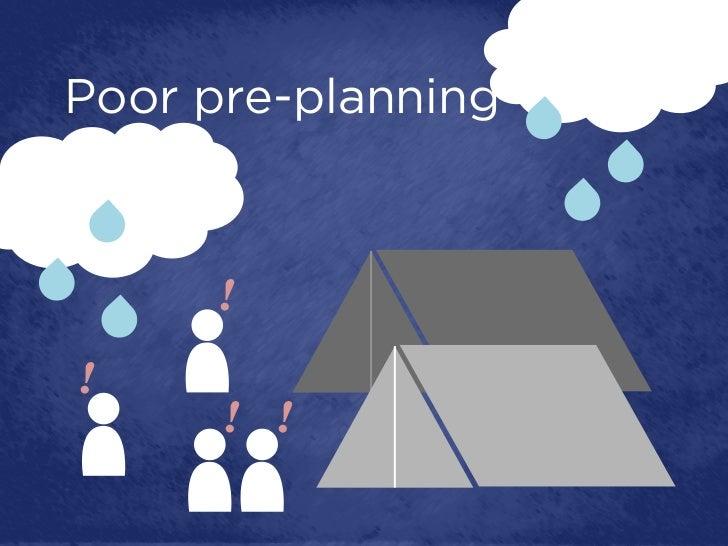 Poor pre-planning     !!      ! !