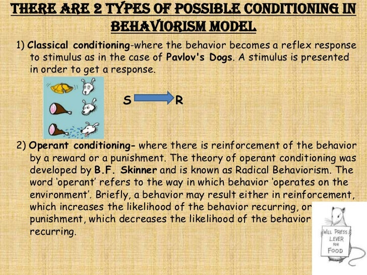 describing classical conditioning and operant conditioning in the case of pavlovs dogs Classical conditioning what he discovered was that the dogs began to salivate before the meat powder was presented to them operant conditioning.