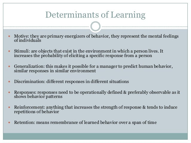 determinants of learning in psychology