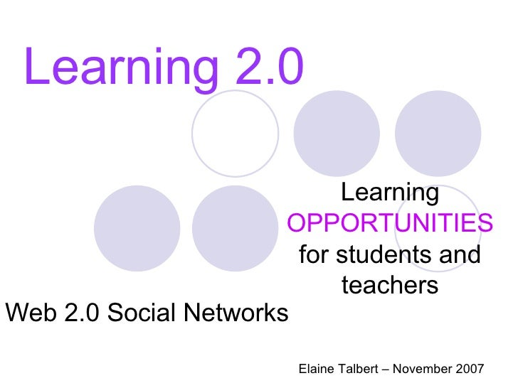 Learning 2.0 Learning  OPPORTUNITIES  for students and teachers Elaine Talbert – November 2007 Web 2.0 Social Networks