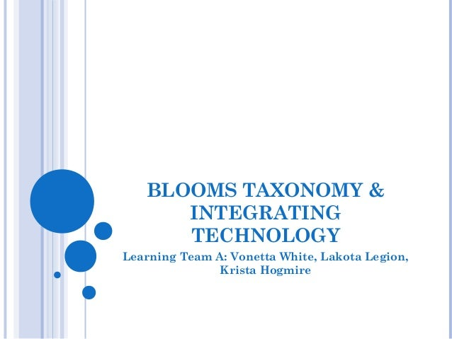 BLOOMS TAXONOMY & INTEGRATING TECHNOLOGY Learning Team A: Vonetta White, Lakota Legion, Krista Hogmire