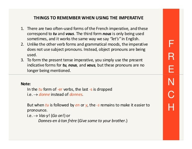 Learning the french imperative tense