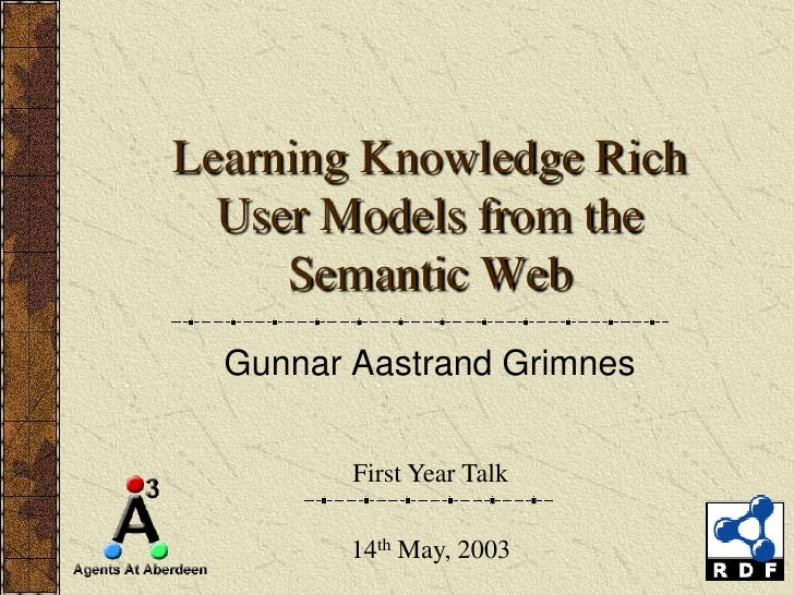 Learning Knowledge Rich   User Models from the      Semantic Web   Gunnar Aastrand Grimnes            First Year Talk     ...