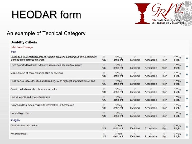 HEODAR form An example of Tecnical Category