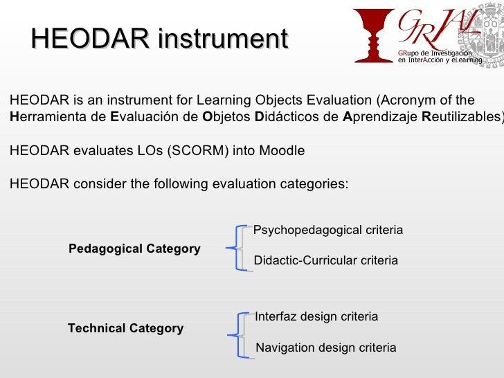 HEODAR instrument HEODAR is an instrument for Learning Objects Evaluation (Acronym of the H erramienta de  E valuación de ...