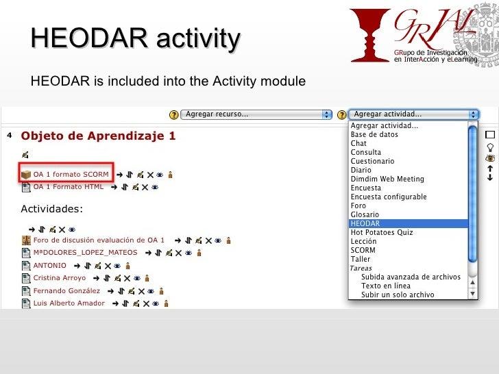 HEODAR activity HEODAR is included into the Activity module