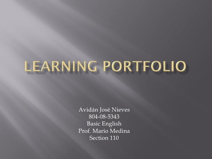 Avidán José Nieves 804-08-5343 Basic English Prof. Mario Medina Section 110