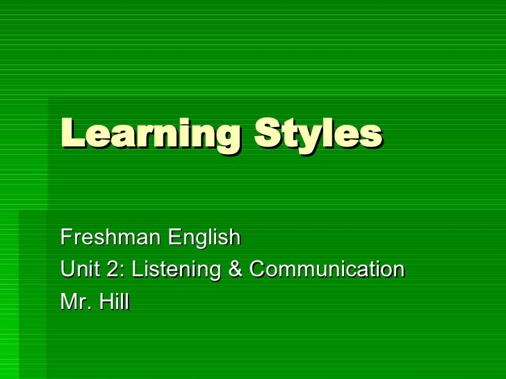 learning styles powerpoint presentation for students