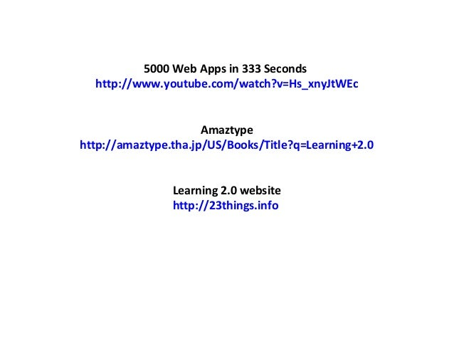 5000 Web Apps in 333 Seconds http://www.youtube.com/watch?v=Hs_xnyJtWEc Amaztype http://amaztype.tha.jp/US/Books/Title?q=L...