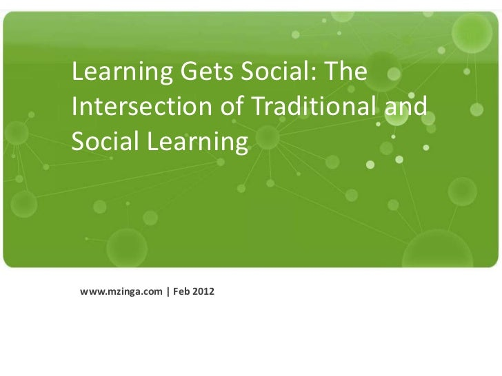 Learning Gets Social: The             Intersection of Traditional and             Social Learning              www.mzinga....