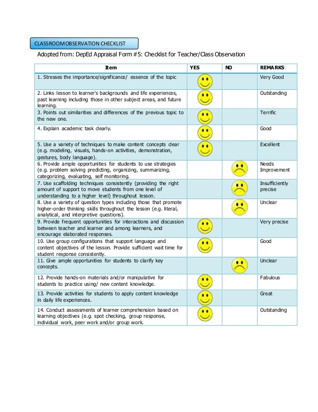 Collaborative Teaching Observation Form : Learning act activities and process