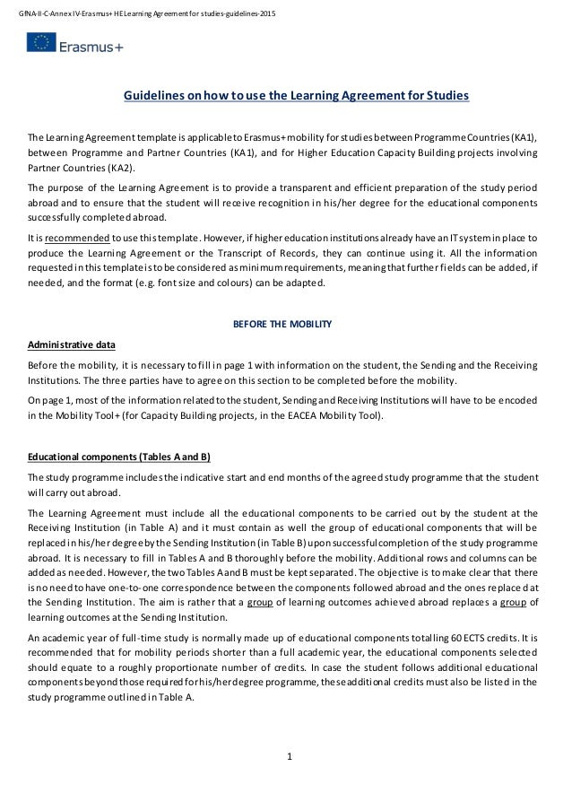 Learning Agreement For Studies Guidelines