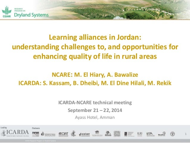 Learning alliances in Jordan:  understanding challenges to, and opportunities for  enhancing quality of life in rural area...