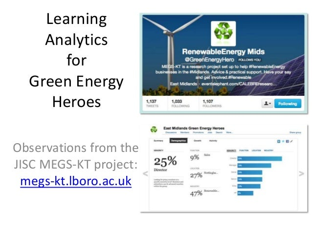 Learning    Analytics       for  Green Energy     HeroesObservations from theJISC MEGS-KT project: megs-kt.lboro.ac.uk
