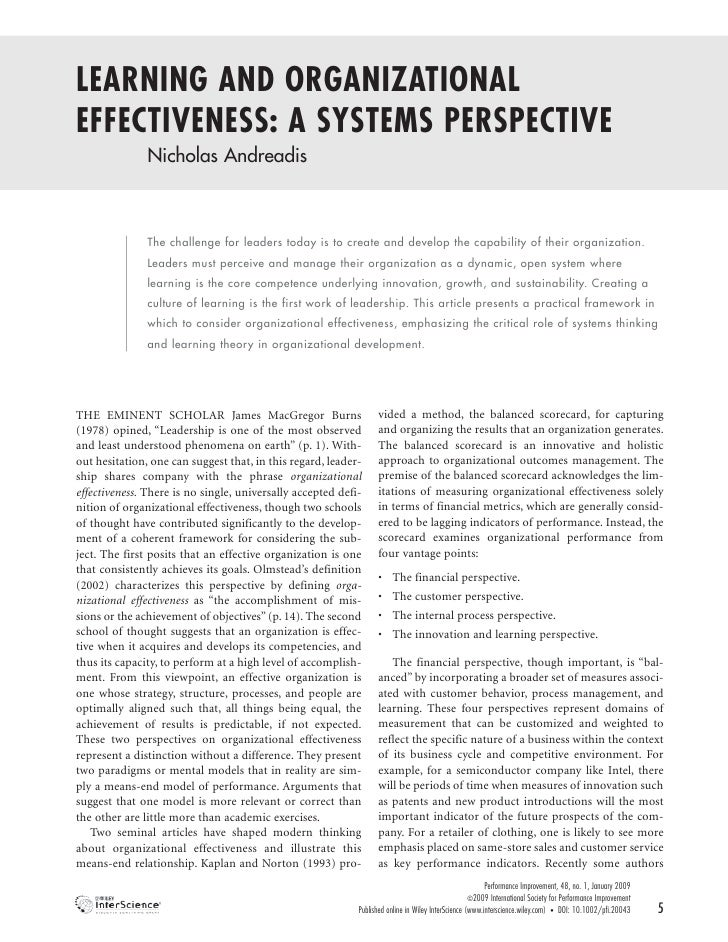 LEARNING AND ORGANIZATIONAL EFFECTIVENESS: A SYSTEMS PERSPECTIVE                Nicholas Andreadis                   The c...