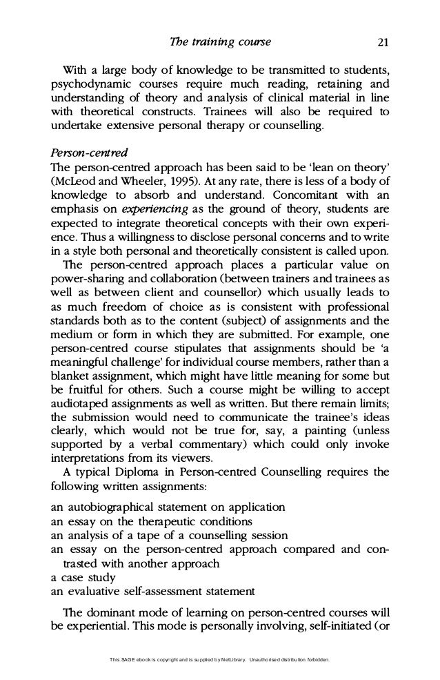 my personal theory of counseling paper Personal counseling theory paper from a christian perspective rodney l mulhollem liberty university this paper will examine five overviews of the author's personal theories of counseling these theories include: model of philosophical assumptions and key concepts.